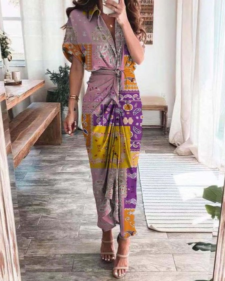 Leaf / Paisley / Graphic / Tie Dye Print Buttoned Shirt Dress