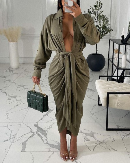 Long Sleeve Buttoned Tied Detail Ruched Shirt Dress