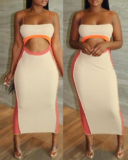 Colorblock Sleeveless Cutout Skinny Maxi Dress