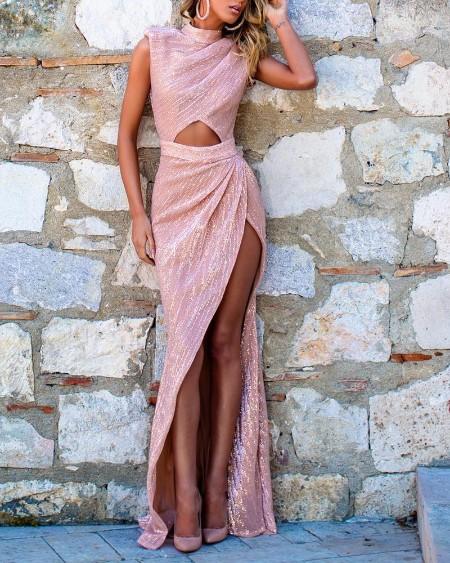 Sequins High Slit Cutout Front Party Dress