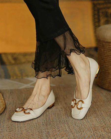 Metallic Chain Patch Round-toe Flat Sandals Slip-on