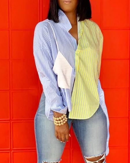 Striped Colorblock Button Design Long Sleeve Shirt