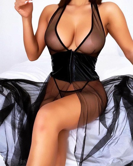 PU Leather Patch Sheer Mesh Babydoll With Thong