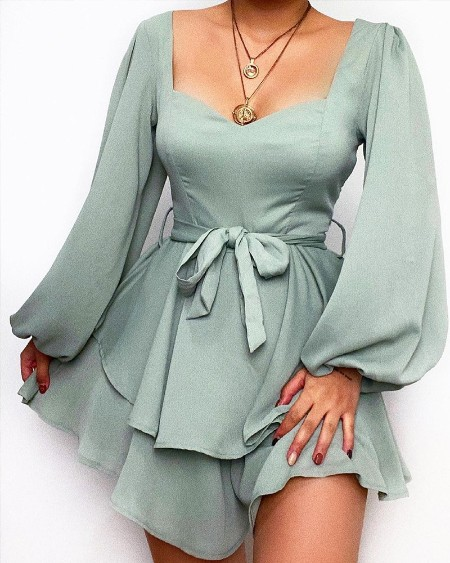 Solid Lantern Sleeve Layered Belted Mini Dress