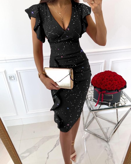 Powder Studded V-neck Bodycon Straight Dress