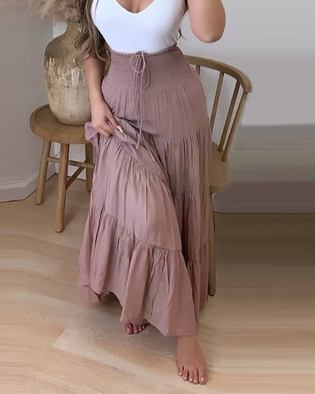 High Waist Drawstring Shirring Detail Maxi Skirt