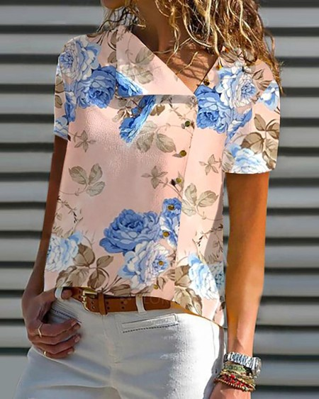 Floral Print Short Sleeve Casual Top