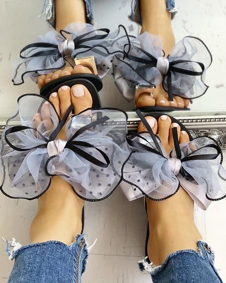 Mesh Bowknot Decor Rhinestone Toe Ring Slippers