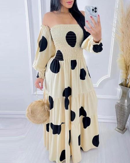 Off Shoulder Polkadot Print Shirring Detail Maxi Dress