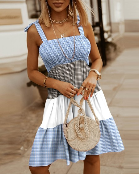 Colorblock Plaid Knot Shoulder Shirred Bust Casual Dress