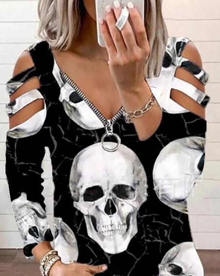 Halloween Skull Print V Neck Zipper Design Cutout Top