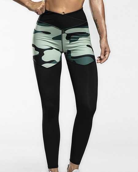 Camouflage Print Skinny Yoga Pants