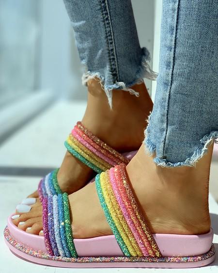 Rainbow Striped Open Toe Flat Slipper