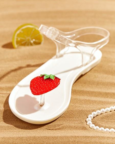 Strawberry Pattern Clear Strap Flat Sandals