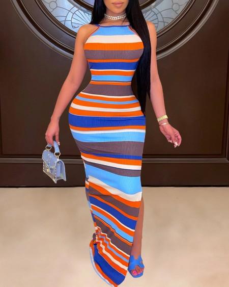 Striped Colorblock High Slit Backless Maxi Dress