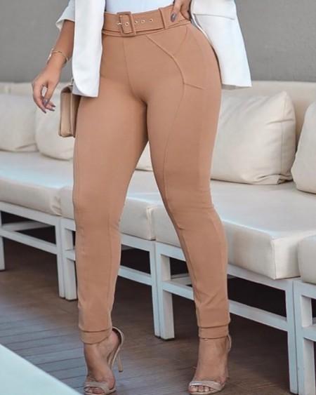 Plain Skinny High Waist Pants With Belt