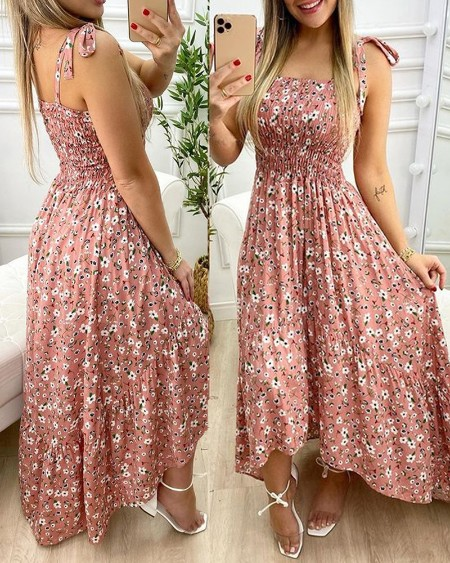 Tie Strap Ditsy Floral Print Maxi Dress