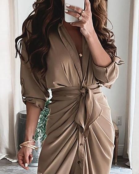 Long Sleeve Plain Slit Shirt Dress