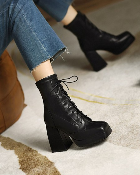 Womens Square Toe Lace-up High Chunky Heel Booties