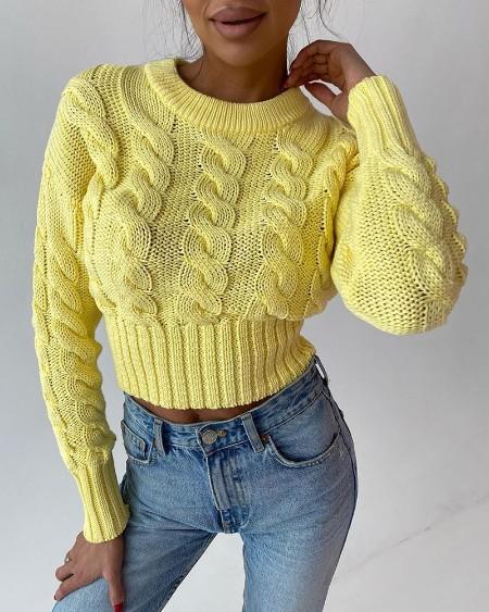 Braided Long Sleeve Knit Crop Sweater