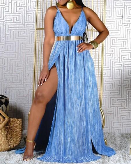 Spaghetti Strap High Slit Ruched Maxi Dress