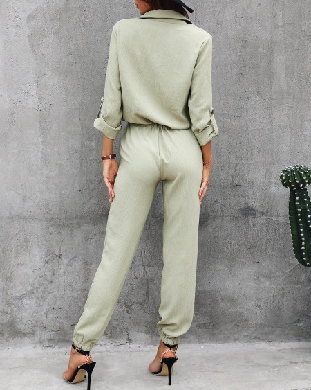 Solid Long Sleeve Elastic Waist Jumpsuit