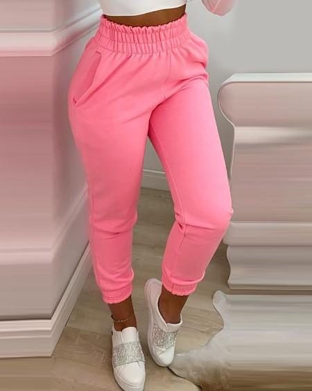 Pocket Design Shirring Waist Frill Hem Casual Pants