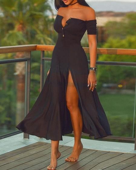 Off Shoulder Short Sleeve Plain High Slit Maxi Dress
