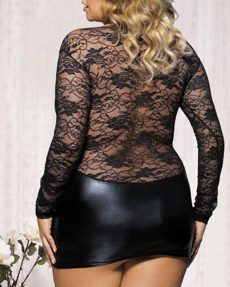 Plus Size PU Leather Floral Lace Babydoll