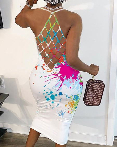 Splash Print Halter Fishnet Slim Dress