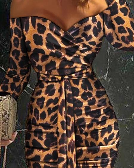 Off Shoulder Ruched Design Belted Leopard Bodycon Dress