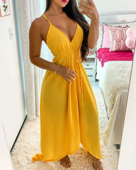 Crisscross Backless Spaghetti Strap Maxi Dress