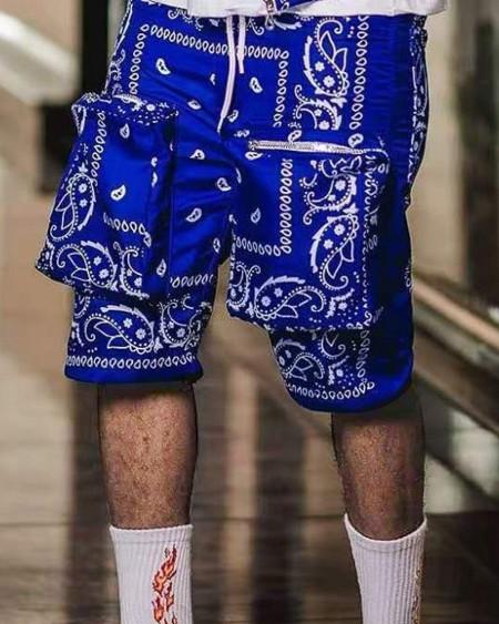 Paisley Print Loose Drawstring Shorts