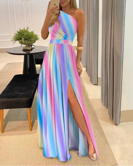 Ombre One Shoulder Cutout Slit Thigh Maxi Dress