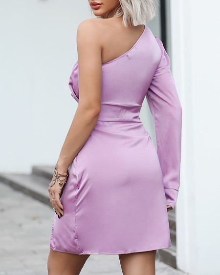 Satin One Shoulder Puff Sleeve Slit Dress
