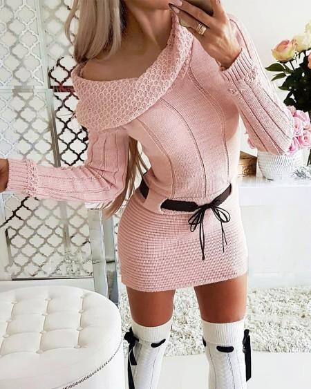 Cold Shoulder Long Sleeve Sweater Dress