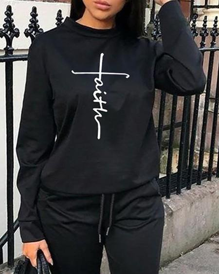 Letter Print Long Sleeve Sweatshirt & Pants Set