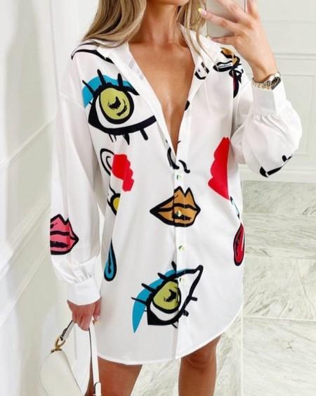 Lip Eye Print Drop Shoulder Button Up Shirt Dress
