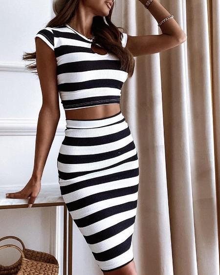 Striped Print Colorblock Ribbed Top & Midi Skirt Set