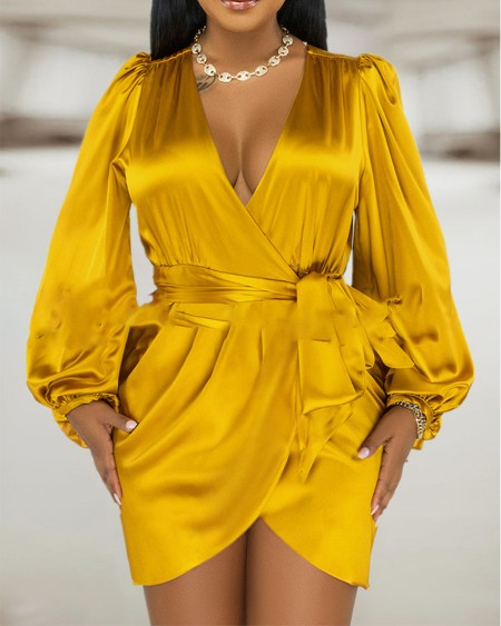 Satin Lantern Sleeve Ruched Tied Detail Party Dress