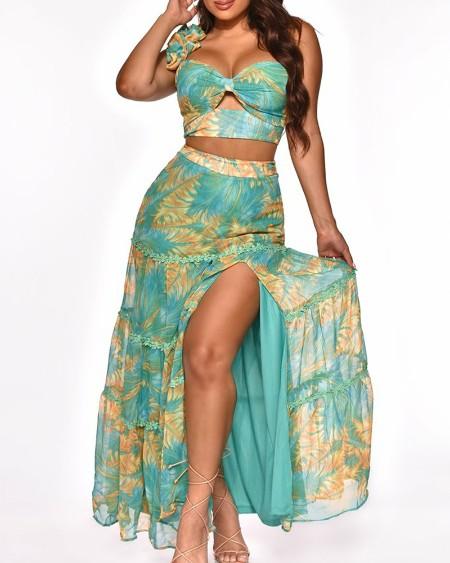 Floral Print Frill Hem One Shoulder Crop Top & Split Thigh Skirt Set
