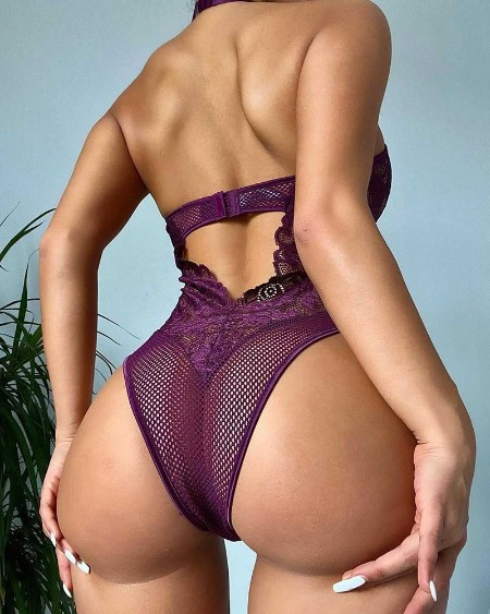 Halter Fishnet Cutout Crochet Lace Zip Front Teddy
