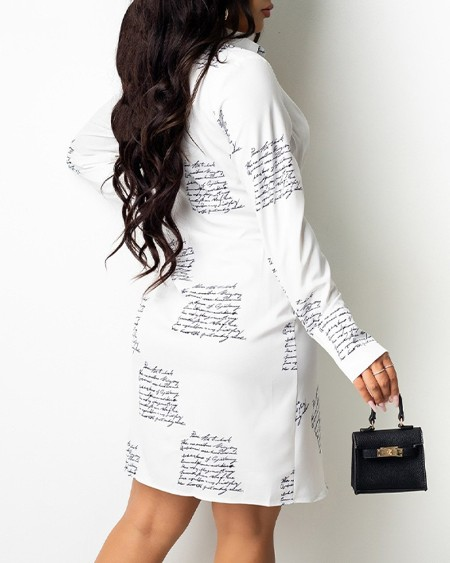Letter Print Collared Plunging Neck Ruched Shirt Dress