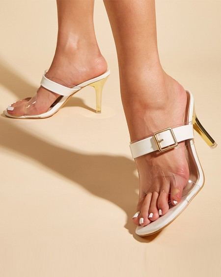 Square-toe Clear Strap Splicing Buckle Hollow-out High Heels