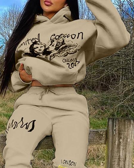 Letter Graphic Print Hooded Sweatshirt & Pants Set