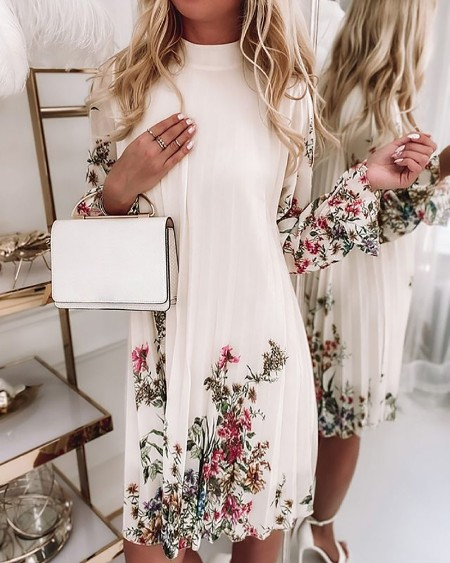Half Sleeve Floral Print Ruched Dress Casual Loose Daily Dress