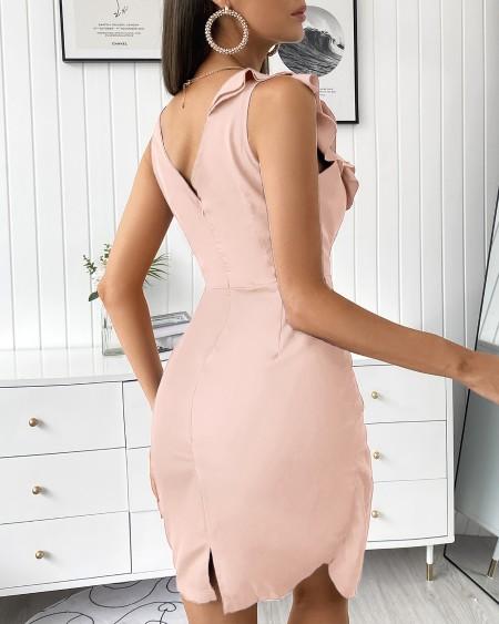 Plain Sleeveless Ruffles Sheer Mesh Slit Zipper Design Bodycon Dress Slim V Neck Party Dress