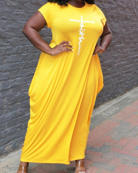 Draped Solid Color Short Sleeve Maxi Dress