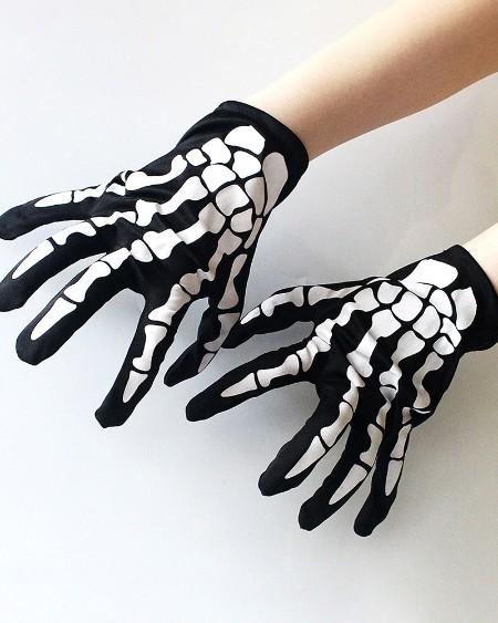 Halloween Full Finger Skull Bone Gloves