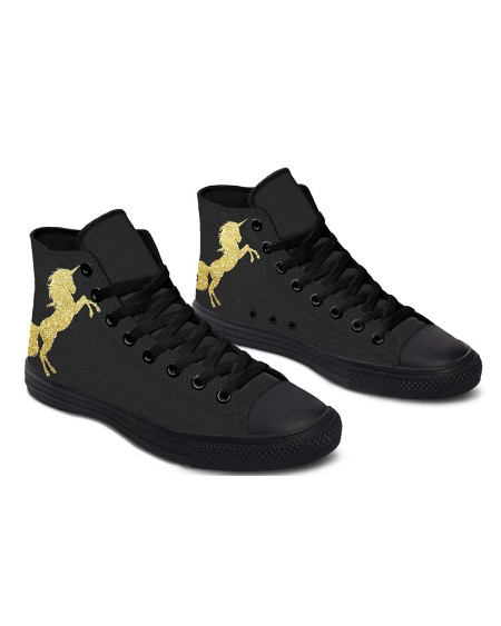 Womens Golden Unicorn Print Lace-up High Top Canvas Casual Shoes